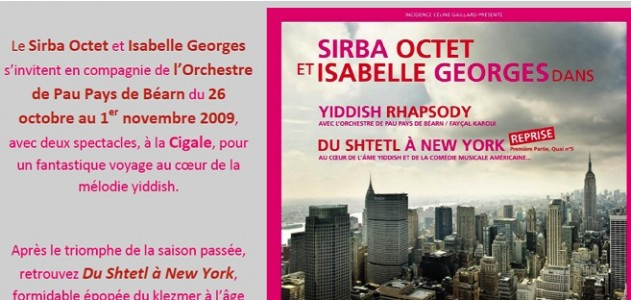 La Cigale - Paris - SIRBA OCTET &ISABELLE GEORGES dans du SHTETL à NEW YORK