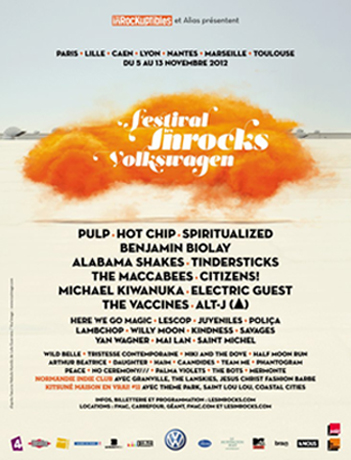 FESTIVAL LES INROCKS VOLKSWAGEN : SPIRITUALIZED + THE MACCABEES+CITIZENS ! + TEAM ME