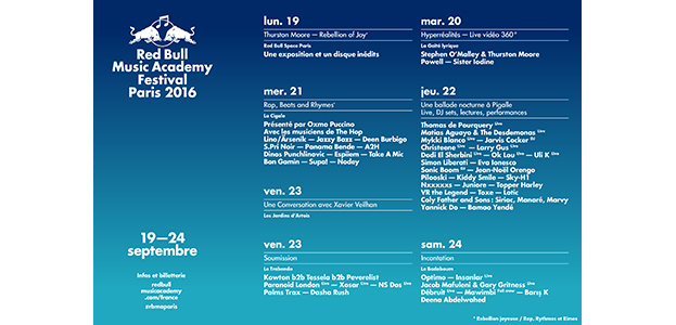 RED BULL MUSIC ACADEMY FESTIVAL PARIS 2016